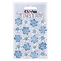 Fleurs en papier 2 cm blanc et bleu paquet de 20