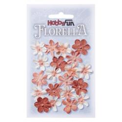 Fleurs en papier 2 cm blanc et pêche paquet de 20