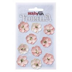 Fleurs en papier 2.5 cm blanc et rose paquet de 10