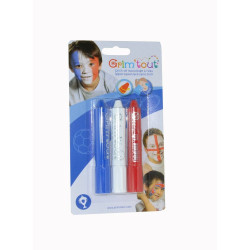 Maquillage Grimtout Sport 3 stick bleu blanc rouge