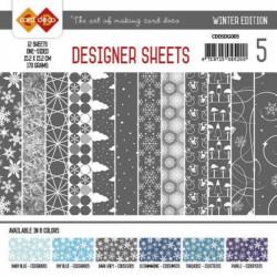 Bloc papier designer gris hiver 12 feuilles 15.2 x 15.2 cm