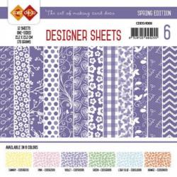 Bloc papier designer violet printemps 12 feuilles 15.2 x 15.2 cm