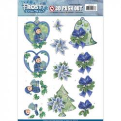 Carte 3D prédéc. - Jeanine's Art - Frosty Ornaments - Lutins et fleurs bleues