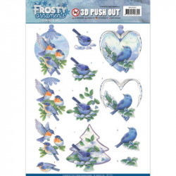 Carte 3D prédéc. - Jeanine's Art - Frosty Ornaments - oiseaux bleus