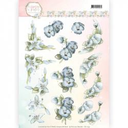 Carte 3D à découper - Precious Marieke - Fleurs pastel bleues