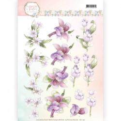 Carte 3D à découper - Precious Marieke - Fleurs pastel lilas