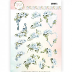 Carte 3D à découper - Precious Marieke - Fleurs pastel coeurs bleus