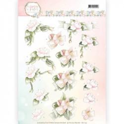 Carte 3D à découper - Precious Marieke - Fleurs pastel roses