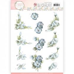 Carte 3D prédéc. - Precious Marieke - Flowers in pastels - Fleurs bleues