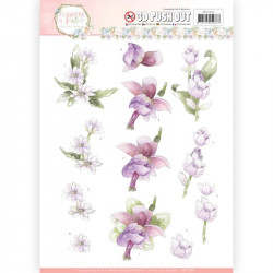 Carte 3D prédéc. - Precious Marieke - Flowers in pastels - Fleurs lilas
