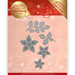 Die - Precious Marieke - Merry and Bright Christmas - Fleurs de Noël 7.3 x 6.2 cm