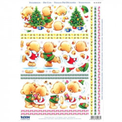 Carte 3D prédéc. - A4 - 82187 - Couple oursons Noël