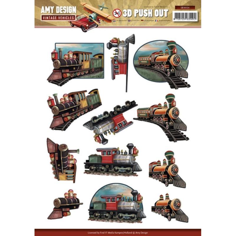 Carterie 3D Prédécoupée - Amy Design Trains Vintage