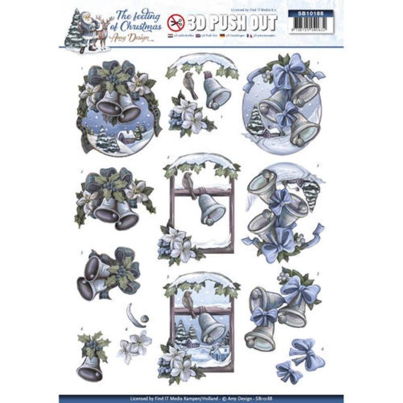 Carte 3D prédéc. - Amy Design - The feeling of Christmas - Cloches de Noël