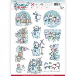 Carte 3D prédéc. - Yvonne Créations - Christmas Dreams - Bonhommes de neige