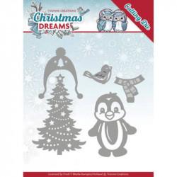 Dies - Yvonne Creations - Christmas Dreams - Pingouin à Noël 3,8 x 5,1 cm, 4,2 x 6,4 cm.