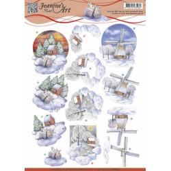 Carte 3D à découper - CD10840 - paysage hiver 1 - Jeanine's Art