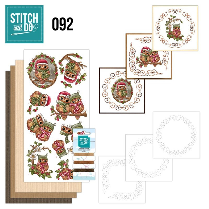 Stitch and do 92 Carte 3D broderie - Chouettes de Noël