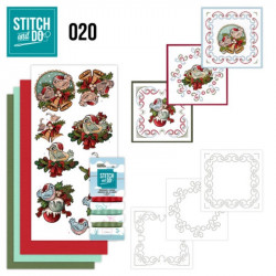 Stitch and do 20 - kit Carte 3D broderie - Oiseaux à Noël