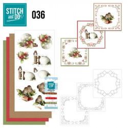 Stitch and do 36 Carte 3D broderie -  Oiseaux et boules Noël