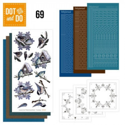 Dot and do 069 - kit Carte 3D - Oiseaux en hiver
