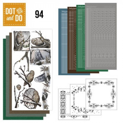 Dot and do 094 - kit Carte 3D - Chouettes en hiver