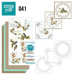 Stitch and do 41 - kit Carte 3D broderie - Oiseaux en hiver