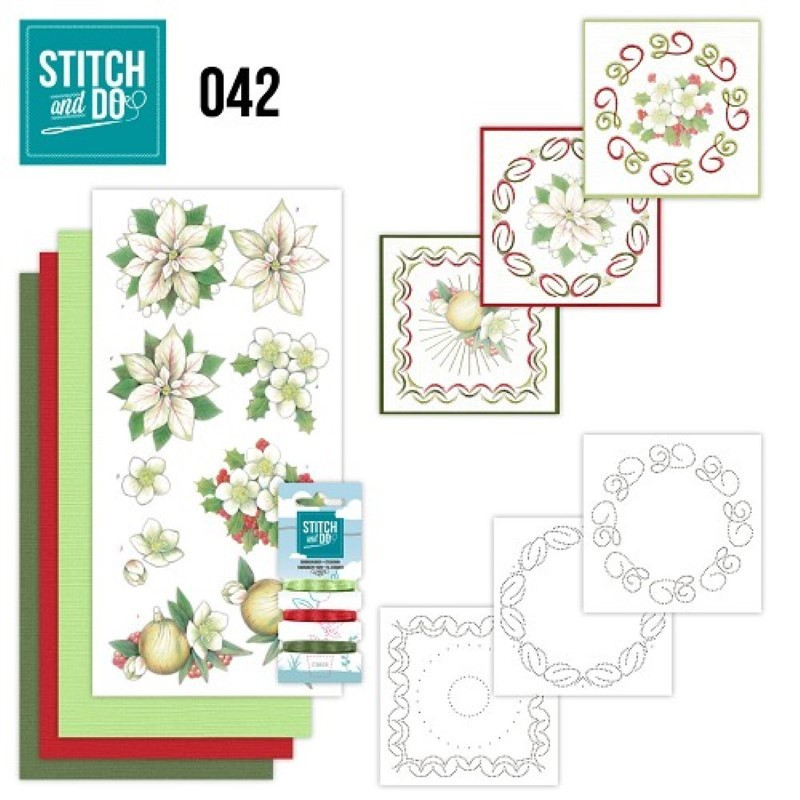 Stitch and do 42 Carte 3D broderie - Fleurs blanches de Noël