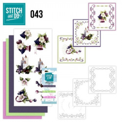 Stitch and do 43 - kit Carte 3D broderie - Fleurs colorées de Noël