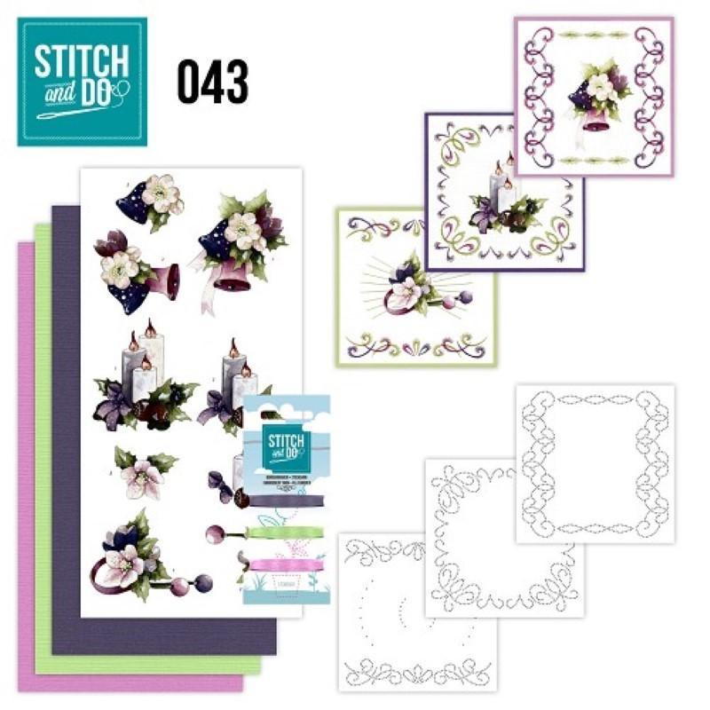 Stitch and do 43 Carte 3D broderie - Fleurs colorées de Noël