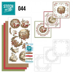 Stitch and do 44 - kit Carte 3D broderie - Animaux et Père Noël
