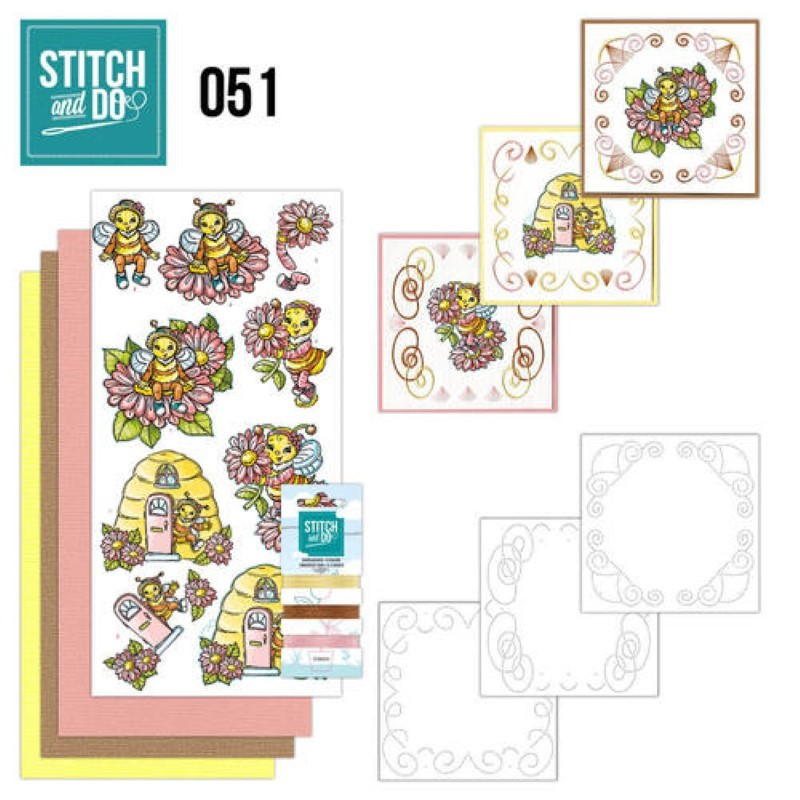 Stitch and do 51 - kit Carte 3D broderie - Amour d'abeilles