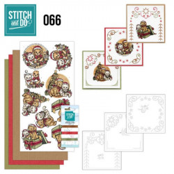 Stitch and do 66 - kit Carte 3D broderie - Chats et chiens de Noël