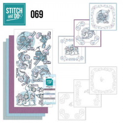 Stitch and do 69 - kit Carte 3D broderie - Bonhommes de neige et skis