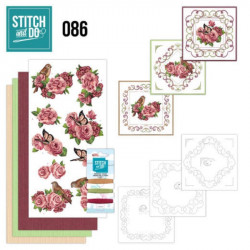 Stitch and do 86 - kit Carte 3D broderie - roses et papillons
