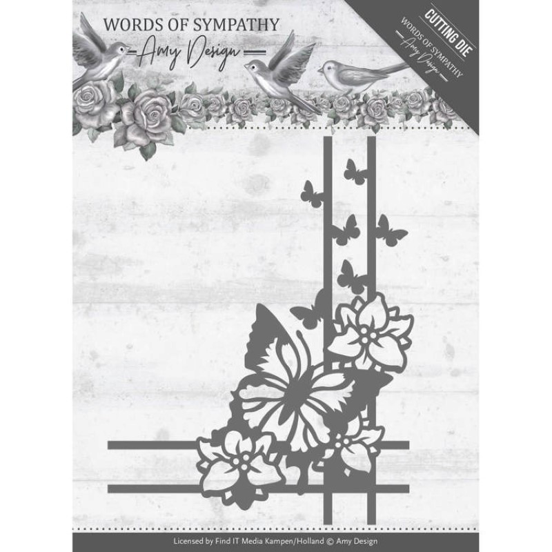 Die - Amy Design - Words of Sympathy - Coins papillons 7.1 x9 cm