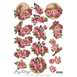 Carte 3D à découper -  amy design - Fleurs roses