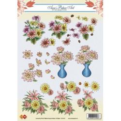 Carte 3D à découper - Fleurs Dahlias