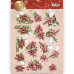 Carte 3D à découper - Merry and Bright - Poinsettias de Noël