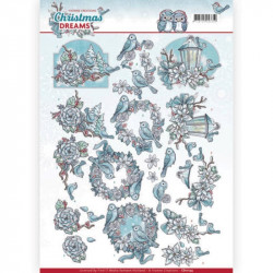 Carte 3D à découper - Christmas Dreams - OIseaux à Noël