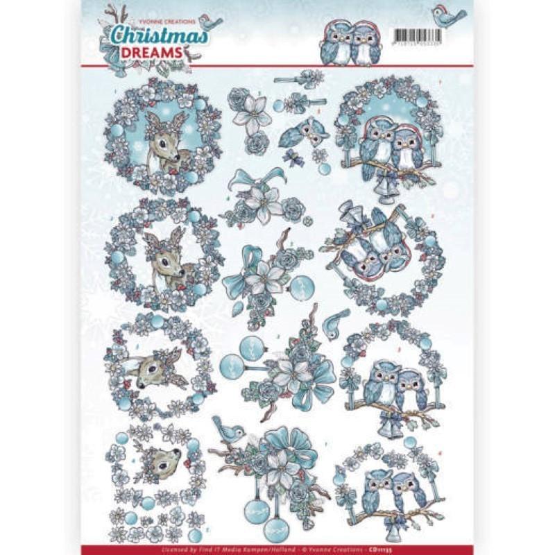 Carte 3D à découper - Christmas Dreams - Animaux à Noël