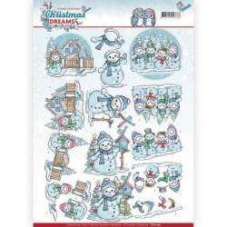 Carte 3D à découper - Christmas Dreams - Bonhommes de neige