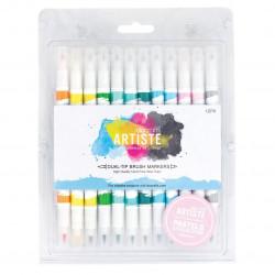 Docrafts Artiste Brush Markers Pastels 12 feutres