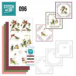Stitch and do 96 - kit Carte 3D broderie - Oiseaux en hiver