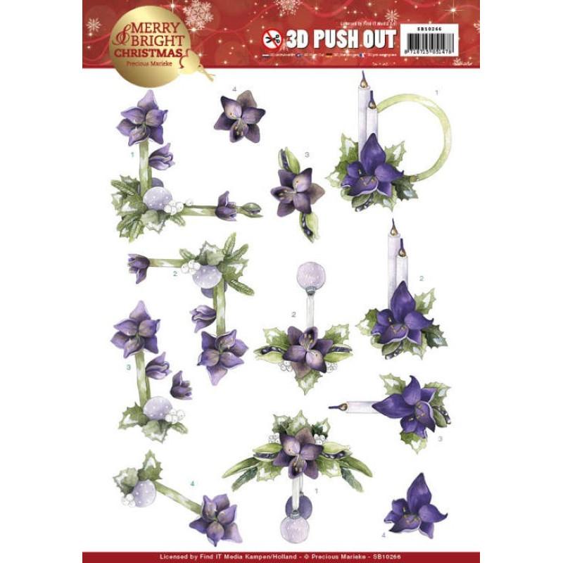 Carte 3D prédéc. - Precious Marieke - Merry and Bright Christmas - Amaryllis