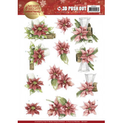 Carte 3D prédéc. - Precious Marieke - Merry and Bright Christmas - Poinsettias