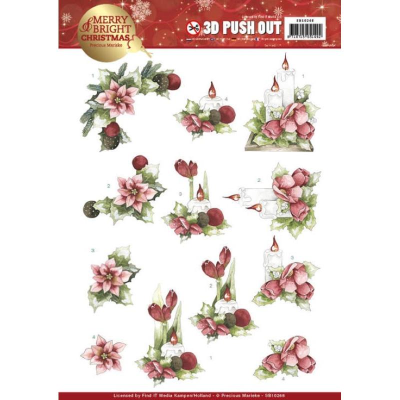 Carte 3D prédéc. - Precious Marieke - Merry and Bright Christmas - Bougies et fleurs