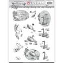 Carte 3D prédéc. - Amy Design - Words of Sympathy - Cygnes