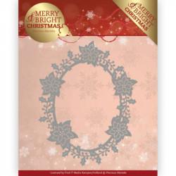 Die - Precious Marieke - Merry and Bright Christmas - Cadre poinsettia 10.7x13.4 cm