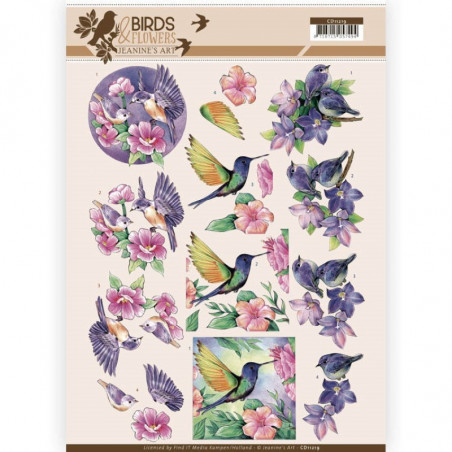 Carte 3D à découper - CD11219 - Birds and Flowers - Oiseaux Tropicaux -  Jeanine's Art